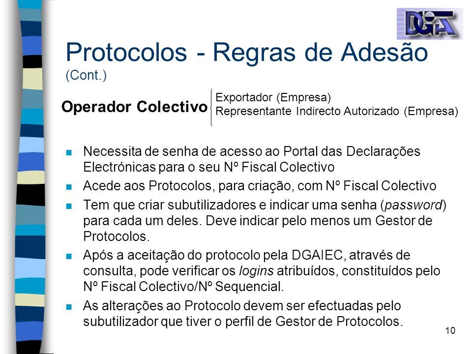 Protocolos - Regras de Adesão (Cont.)