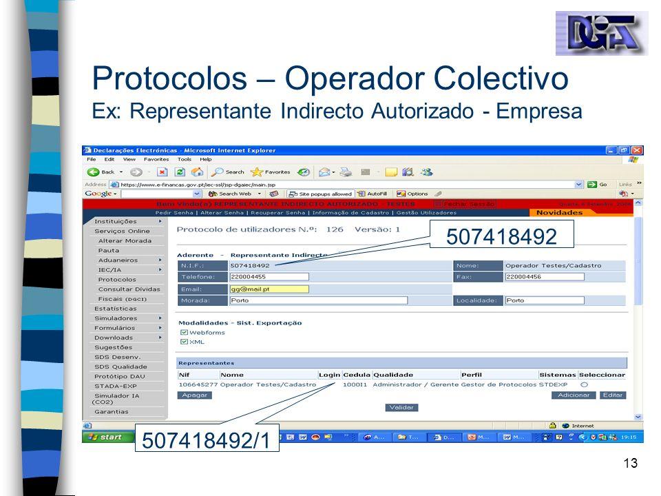 Protocolos – Operador Colectivo Ex: Representante Indirecto Autorizado - Empresa