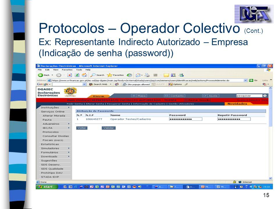 Protocolos – Operador Colectivo (Cont