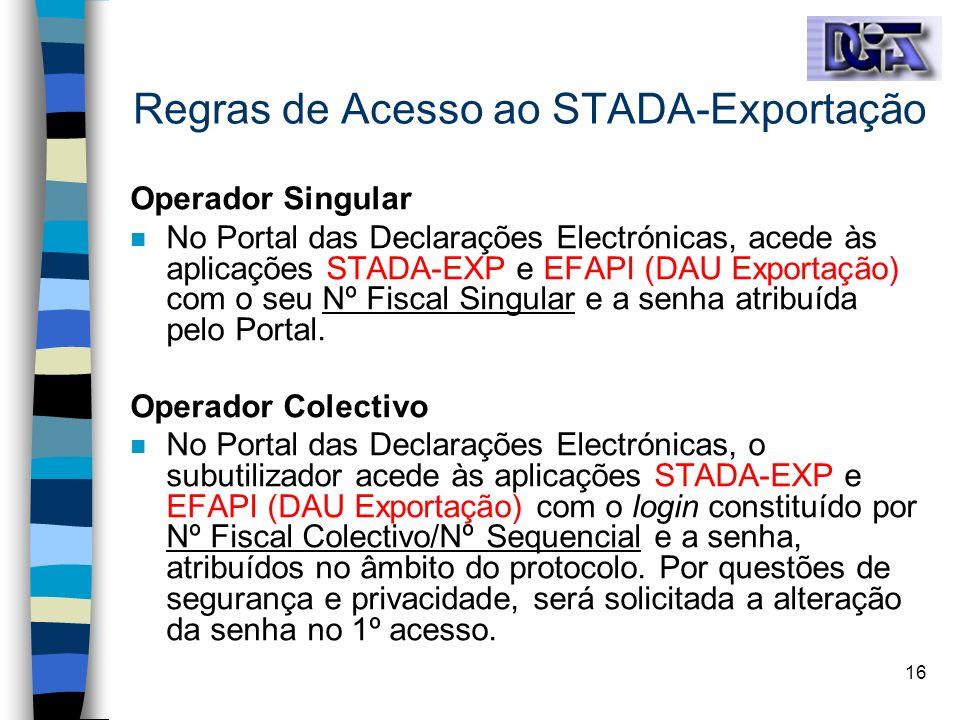 Regras de Acesso ao STADA-Exportação