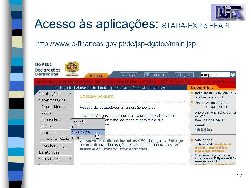 Acesso às aplicações: STADA-EXP e EFAPI http://www. e-financas. gov