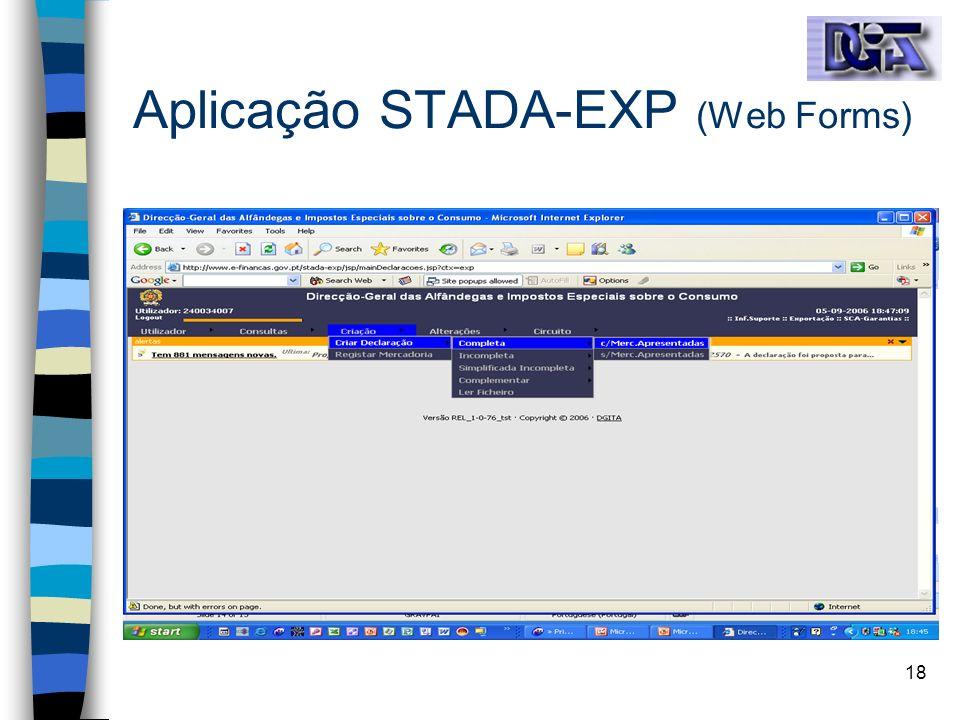 Aplicação STADA-EXP (Web Forms)