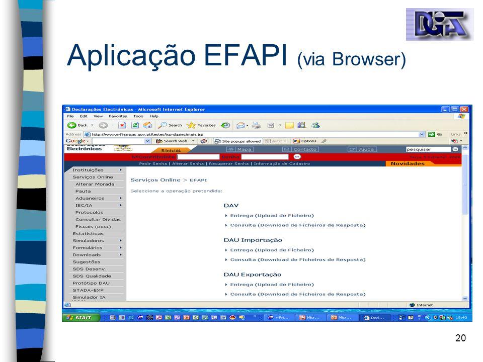 Aplicação EFAPI (via Browser)