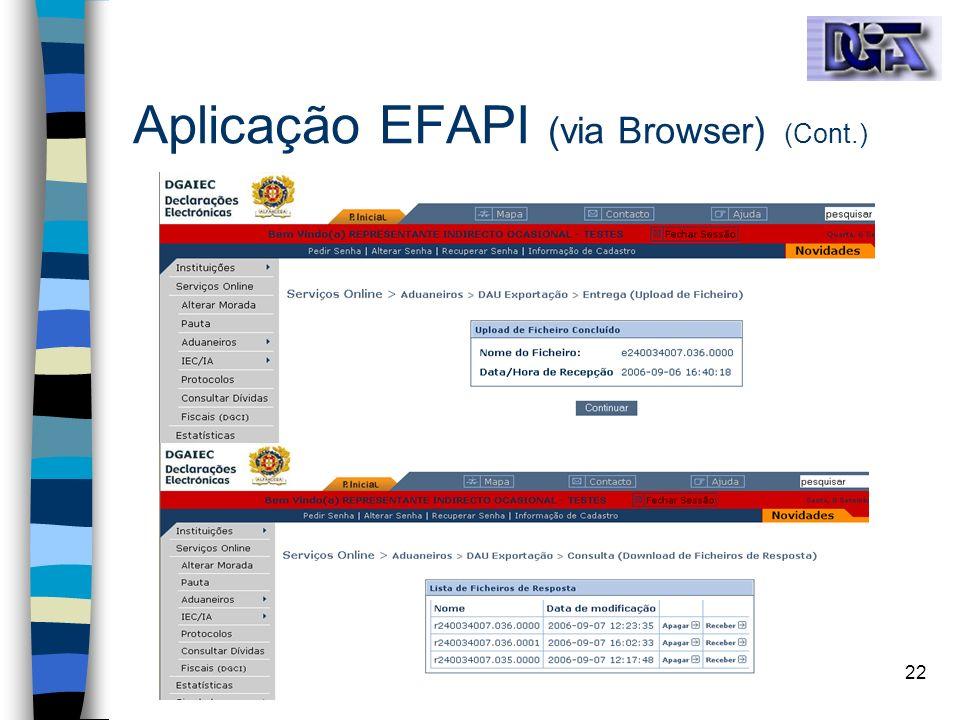 Aplicação EFAPI (via Browser) (Cont.)
