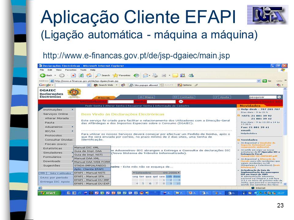 Aplicação Cliente EFAPI (Ligação automática - máquina a máquina) http://www.e-financas.gov.pt/de/jsp-dgaiec/main.jsp