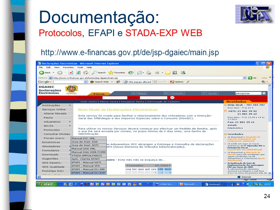 Documentação: Protocolos, EFAPI e STADA-EXP WEB http://www. e-financas