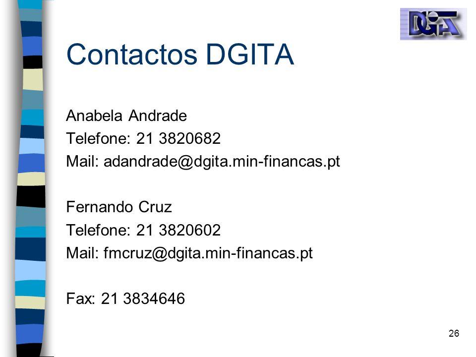Contactos DGITA Anabela Andrade Telefone: 21 3820682