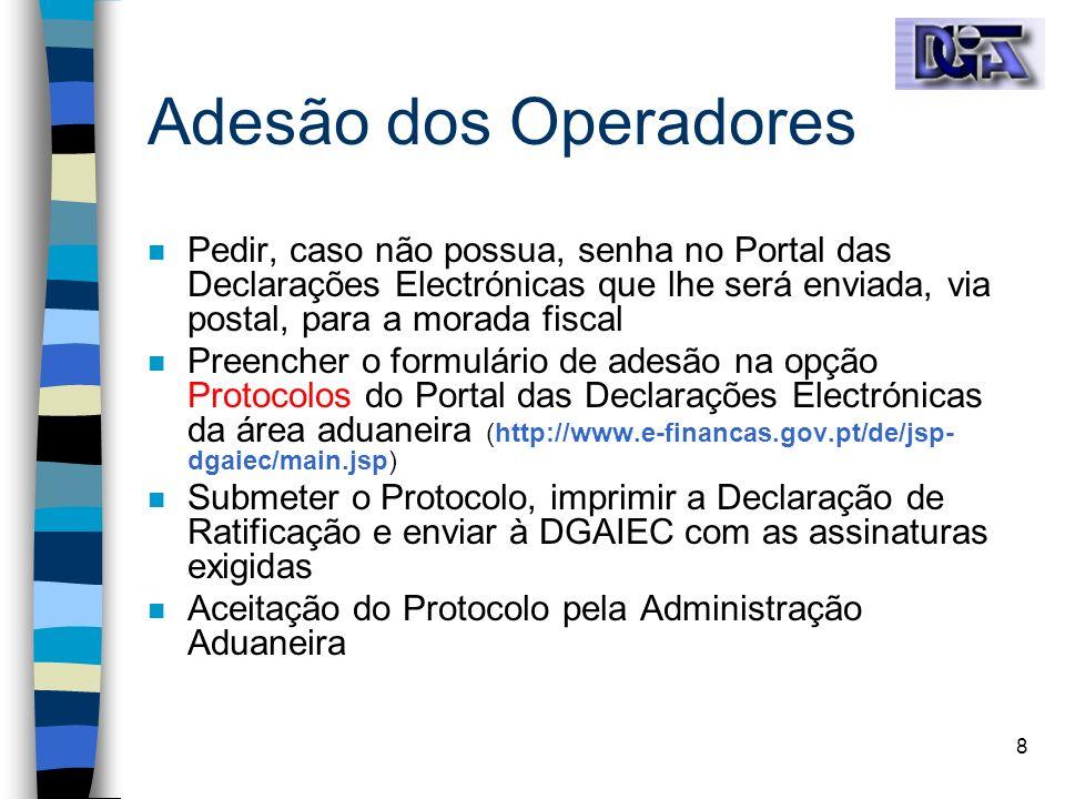 Adesão dos Operadores Pedir, caso não possua, senha no Portal das Declarações Electrónicas que lhe será enviada, via postal, para a morada fiscal.
