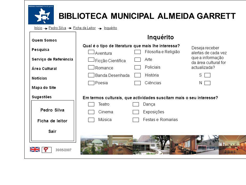 Inquérito Pedro Silva Ficha de leitor Sair