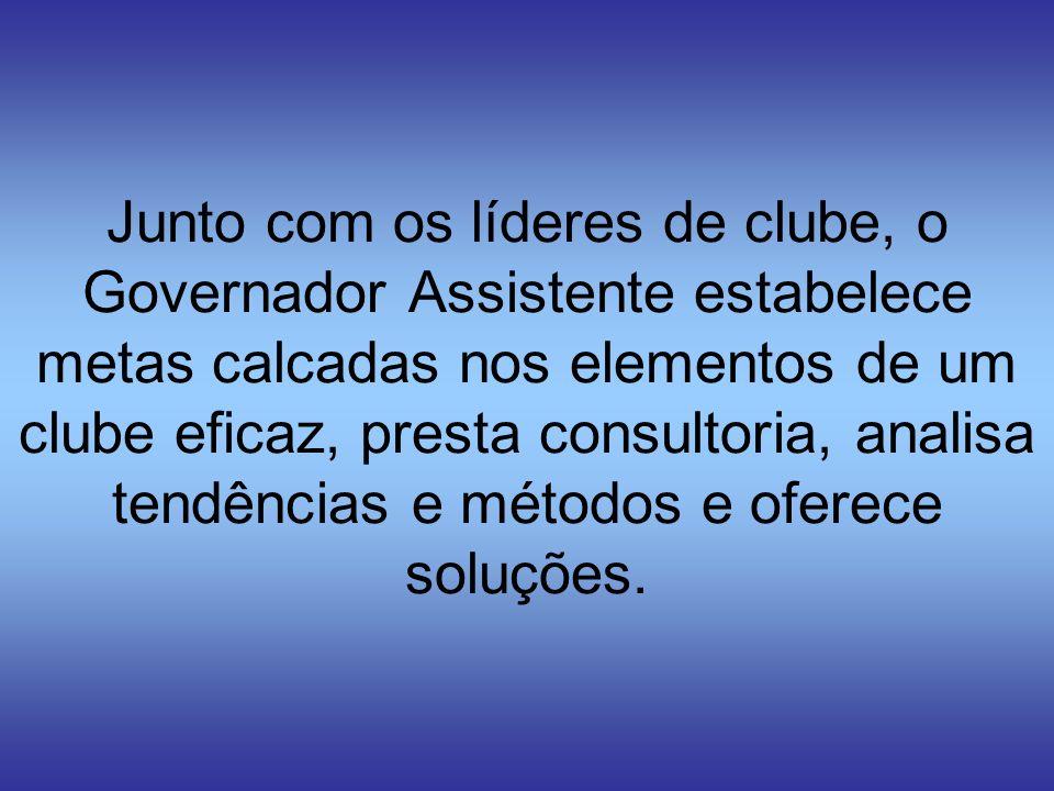 Junto com os líderes de clube, o Governador Assistente estabelece metas calcadas nos elementos de um clube eficaz, presta consultoria, analisa tendências e métodos e oferece soluções.