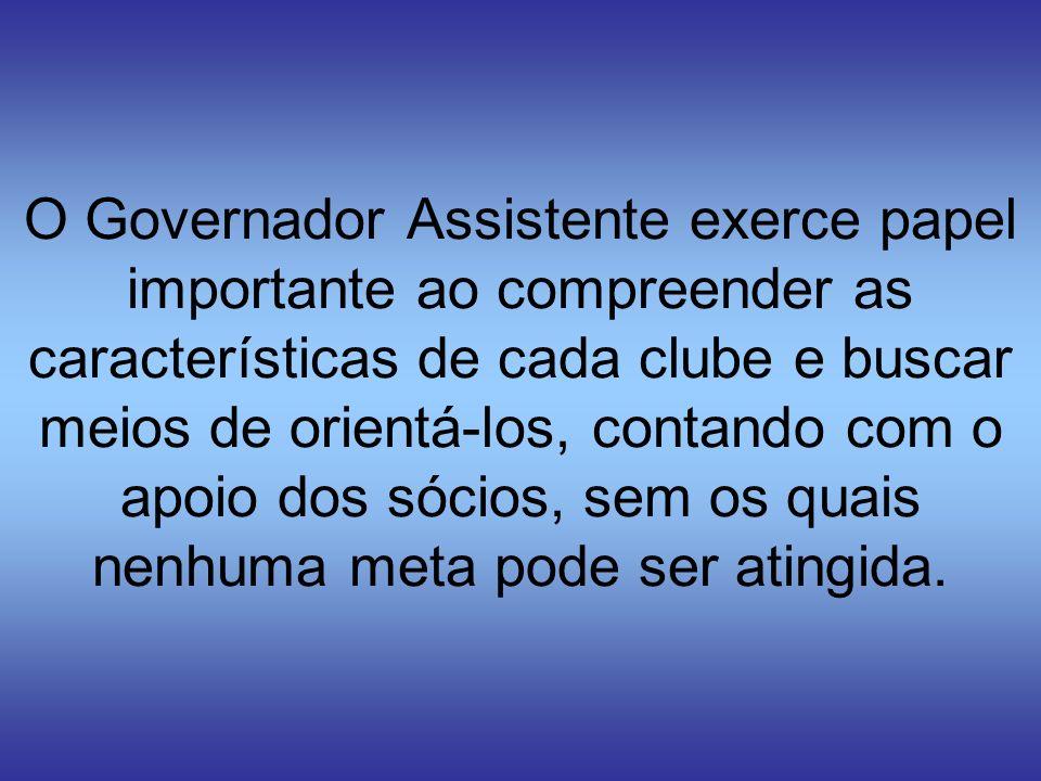 O Governador Assistente exerce papel importante ao compreender as características de cada clube e buscar meios de orientá-los, contando com o apoio dos sócios, sem os quais nenhuma meta pode ser atingida.