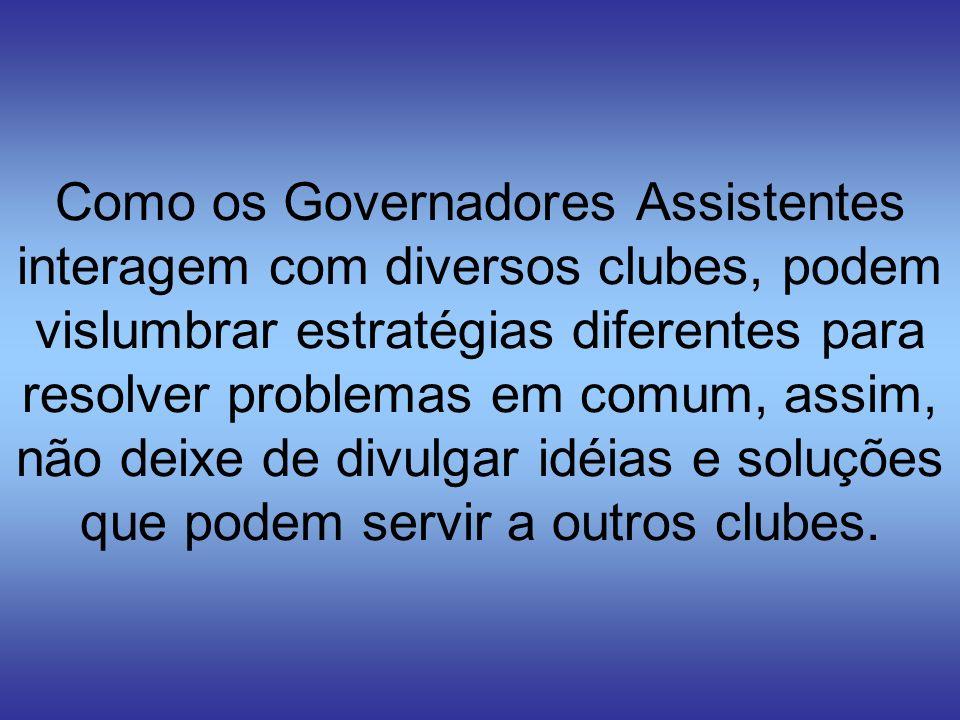 Como os Governadores Assistentes interagem com diversos clubes, podem vislumbrar estratégias diferentes para resolver problemas em comum, assim, não deixe de divulgar idéias e soluções que podem servir a outros clubes.