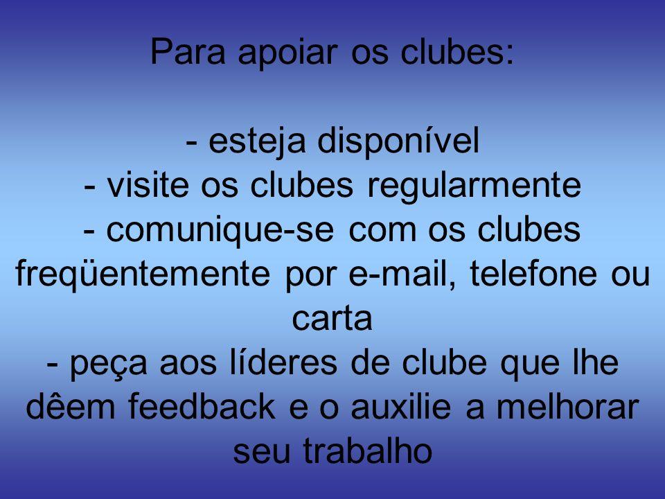 Para apoiar os clubes: - esteja disponível - visite os clubes regularmente - comunique-se com os clubes freqüentemente por e-mail, telefone ou carta - peça aos líderes de clube que lhe dêem feedback e o auxilie a melhorar seu trabalho