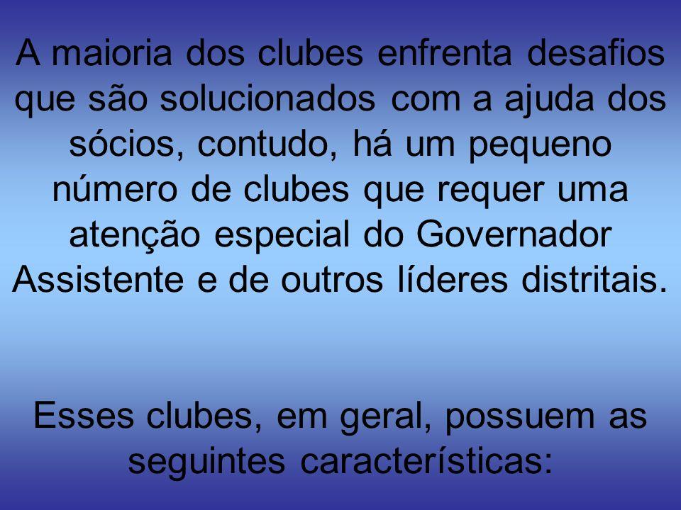 A maioria dos clubes enfrenta desafios que são solucionados com a ajuda dos sócios, contudo, há um pequeno número de clubes que requer uma atenção especial do Governador Assistente e de outros líderes distritais.