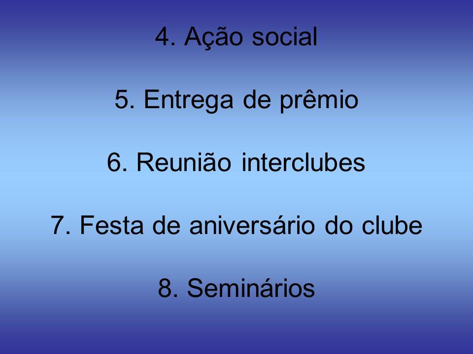 4. Ação social 5. Entrega de prêmio 6. Reunião interclubes 7
