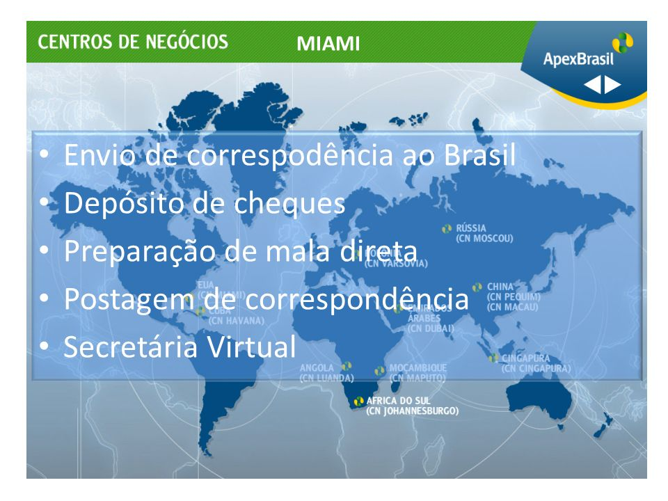 Envio de correspodência ao Brasil Depósito de cheques