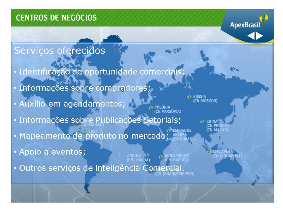 Serviços oferecidos Identificação de oportunidade comerciais;
