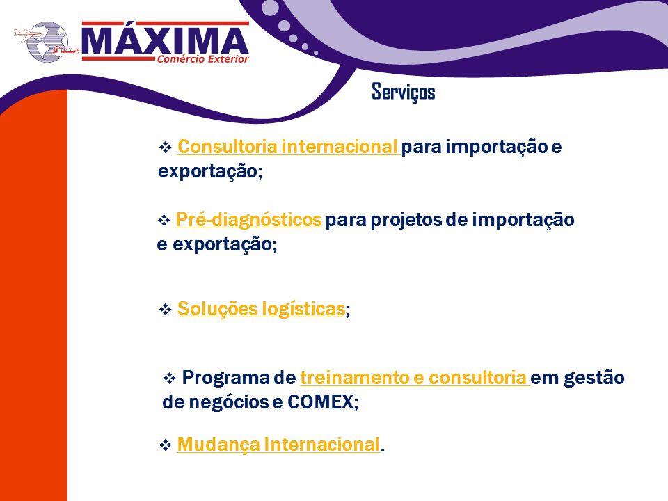 Serviços Consultoria internacional para importação e exportação;