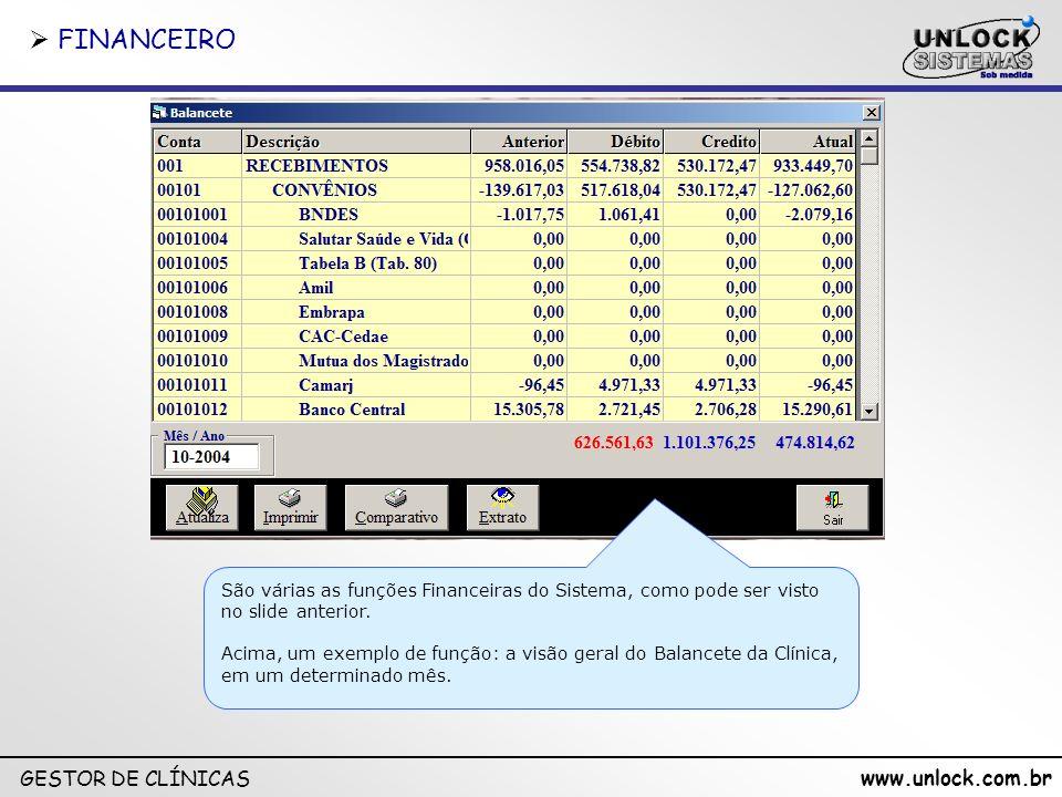 FINANCEIRO São várias as funções Financeiras do Sistema, como pode ser visto no slide anterior.