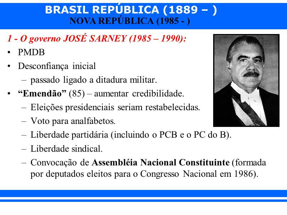 1 - O governo JOSÉ SARNEY (1985 – 1990):