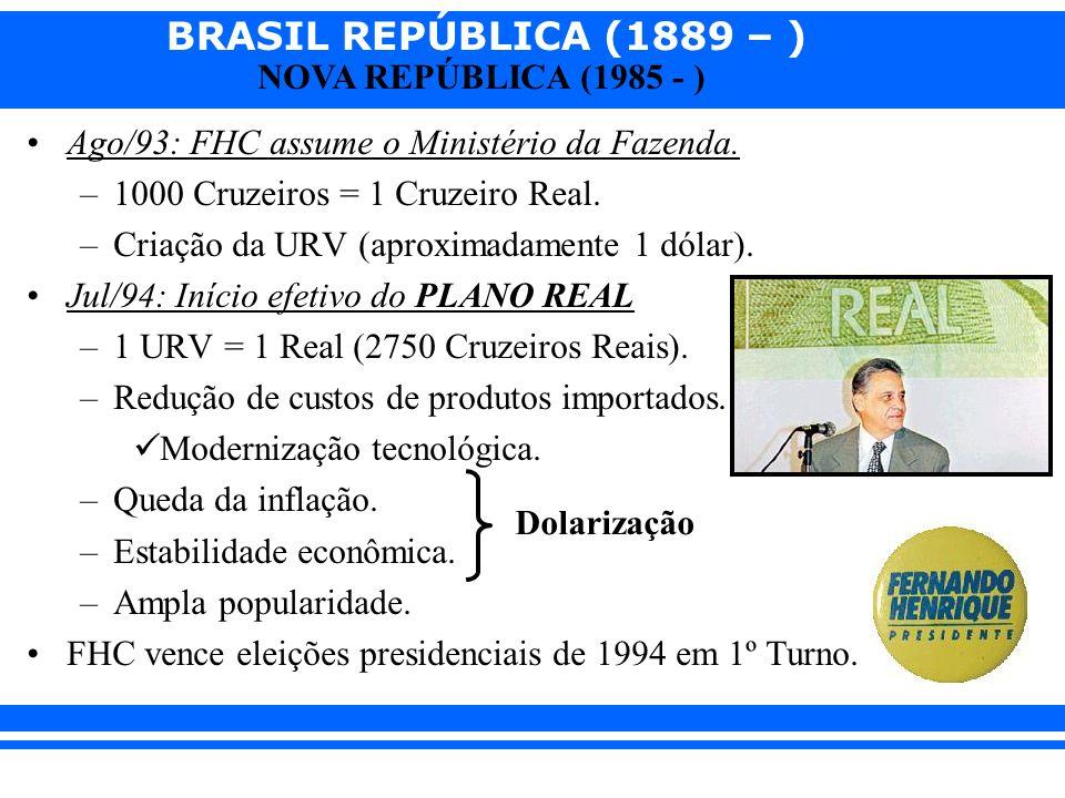 Ago/93: FHC assume o Ministério da Fazenda.