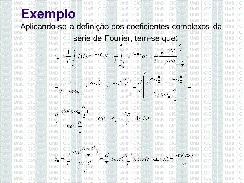 Exemplo Aplicando-se a definição dos coeficientes complexos da série de Fourier, tem-se que: