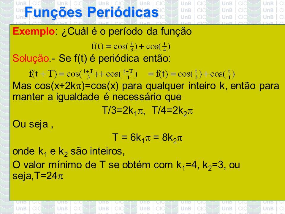 Funções Periódicas Exemplo: ¿Cuál é o período da função