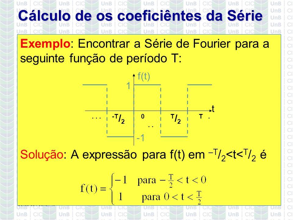 Cálculo de os coeficiêntes da Série