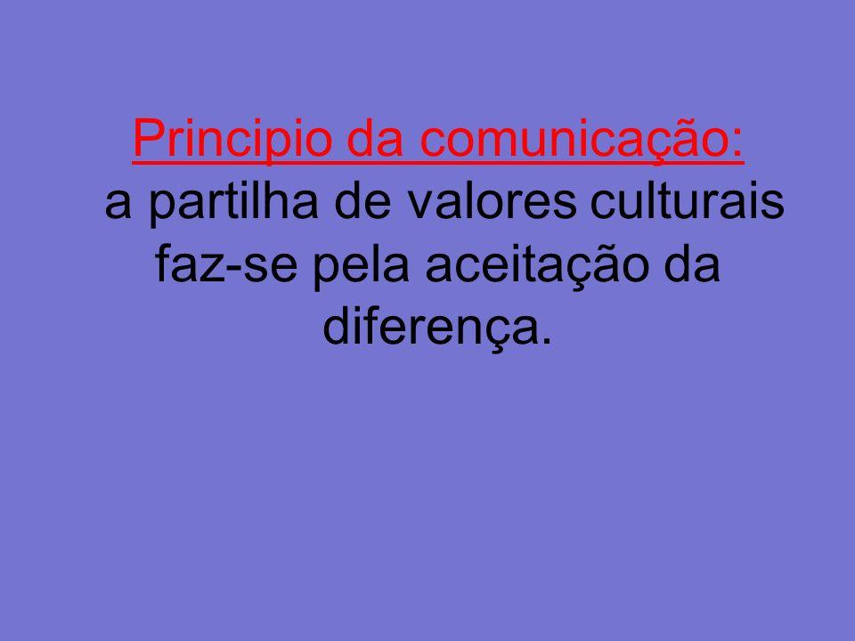 Principio da comunicação: a partilha de valores culturais faz-se pela aceitação da diferença.