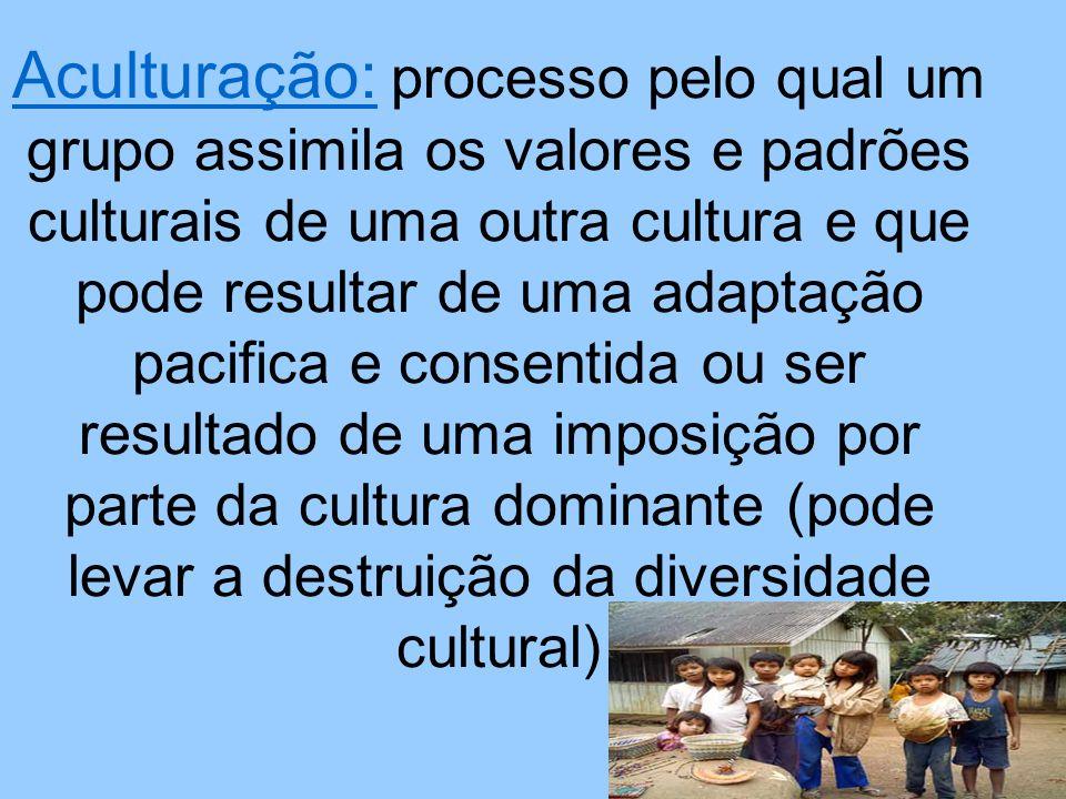 Aculturação: processo pelo qual um grupo assimila os valores e padrões culturais de uma outra cultura e que pode resultar de uma adaptação pacifica e consentida ou ser resultado de uma imposição por parte da cultura dominante (pode levar a destruição da diversidade cultural)