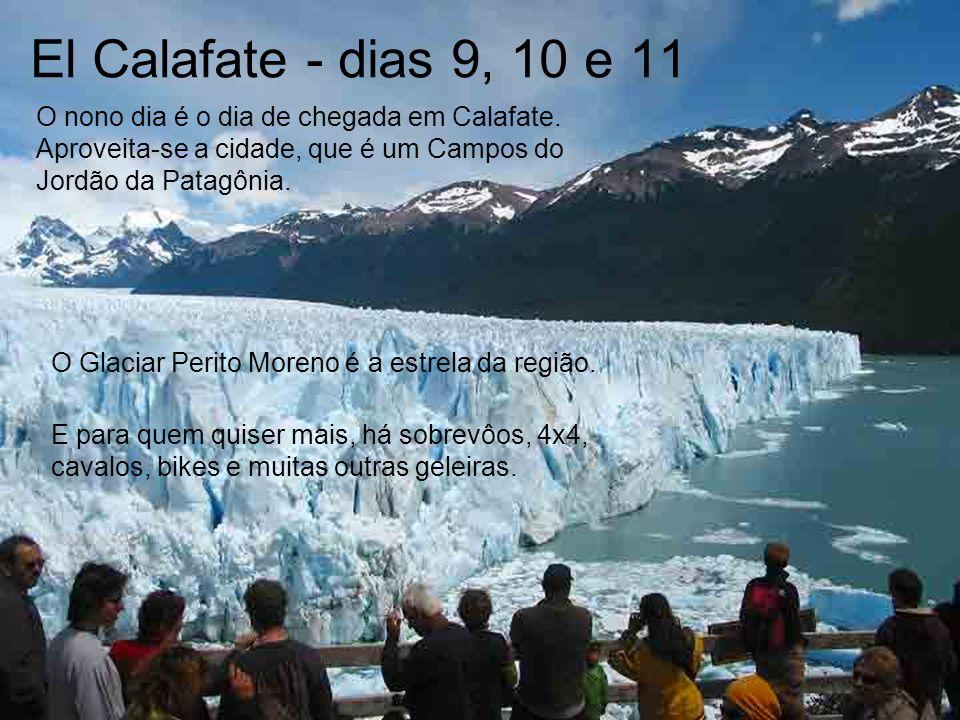 El Calafate - dias 9, 10 e 11 O nono dia é o dia de chegada em Calafate. Aproveita-se a cidade, que é um Campos do Jordão da Patagônia.