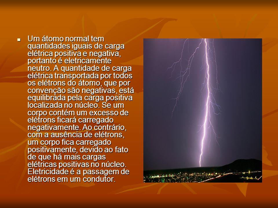 Um átomo normal tem quantidades iguais de carga elétrica positiva e negativa, portanto é eletricamente neutro.