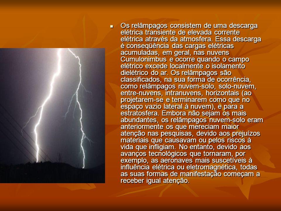 Os relâmpagos consistem de uma descarga elétrica transiente de elevada corrente elétrica através da atmosfera.
