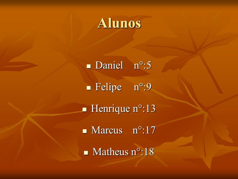 Alunos Daniel n°:5 Felipe n°:9 Henrique n°:13 Marcus n°:17