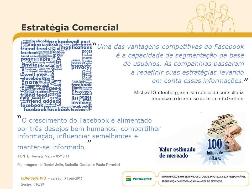 Estratégia Comercial Uma das vantagens competitivas do Facebook. é a capacidade de segmentação da base.