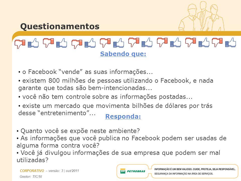 Questionamentos Sabendo que: o Facebook vende as suas informações...