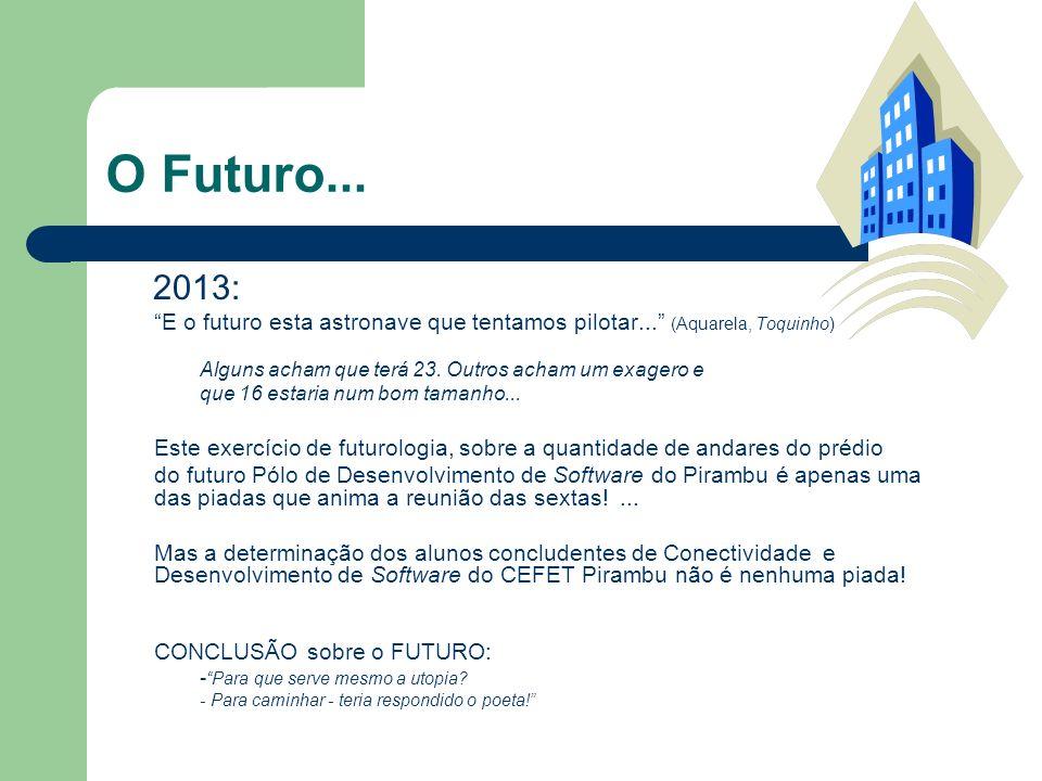 O Futuro... 2013: E o futuro esta astronave que tentamos pilotar... (Aquarela, Toquinho) Alguns acham que terá 23. Outros acham um exagero e.