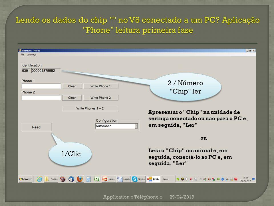 Lendo os dados do chip no V8 conectado a um PC