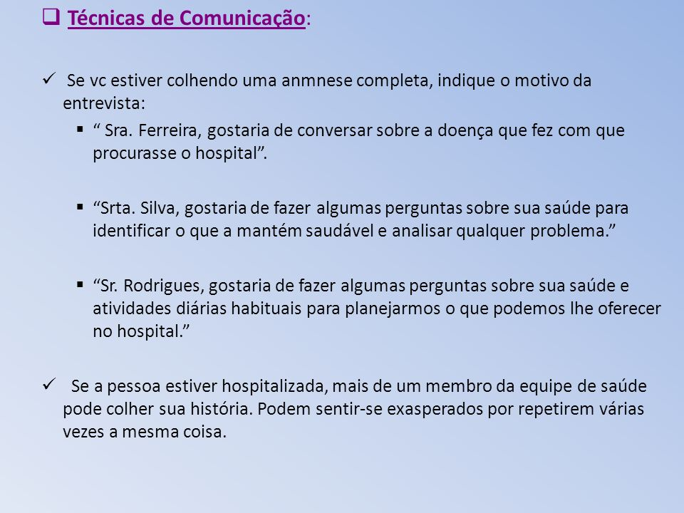 Técnicas de Comunicação: