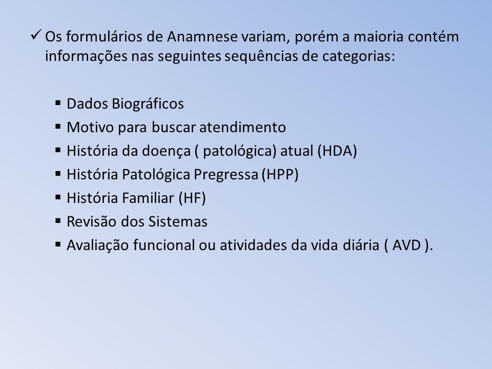 Os formulários de Anamnese variam, porém a maioria contém informações nas seguintes sequências de categorias: