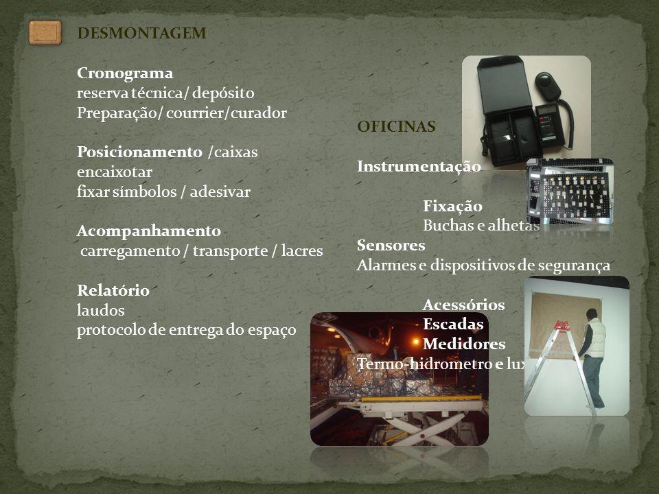 DESMONTAGEM Cronograma. reserva técnica/ depósito. Preparação/ courrier/curador. Posicionamento /caixas.