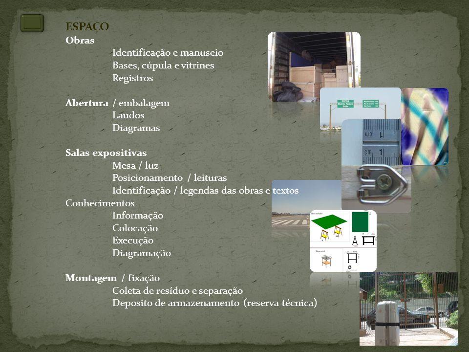 ESPAÇO Obras Identificação e manuseio Bases, cúpula e vitrines