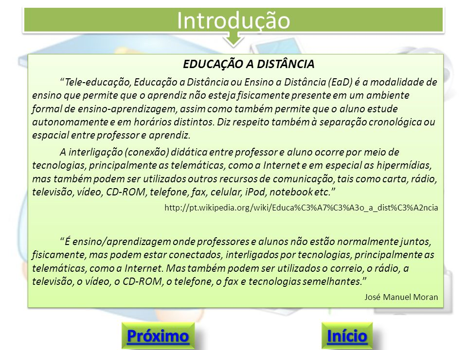 Introdução Próximo Início EDUCAÇÃO A DISTÂNCIA