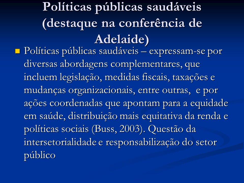 Políticas públicas saudáveis (destaque na conferência de Adelaide)