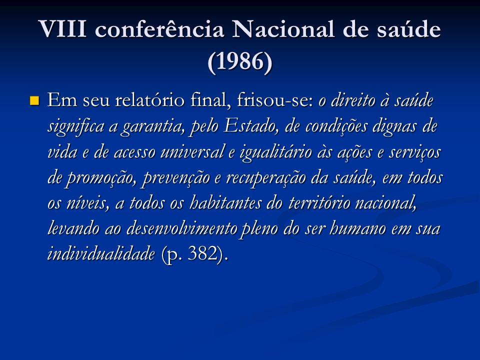VIII conferência Nacional de saúde (1986)