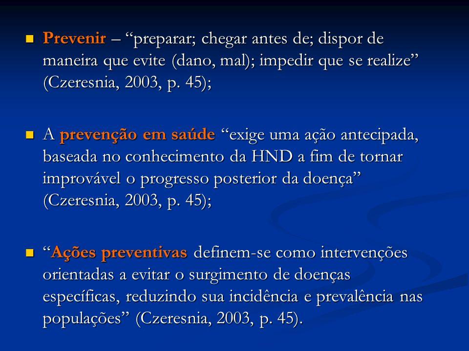 Prevenir – preparar; chegar antes de; dispor de maneira que evite (dano, mal); impedir que se realize (Czeresnia, 2003, p. 45);