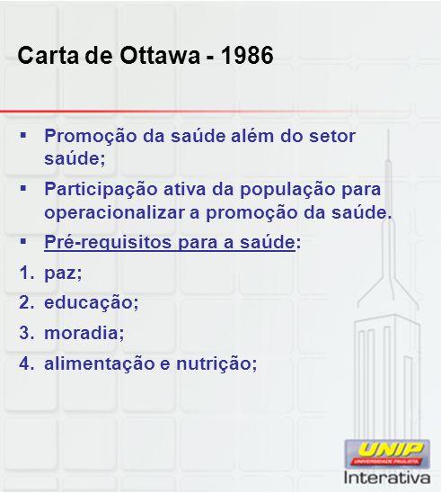 Carta de Ottawa - 1986 Promoção da saúde além do setor saúde;