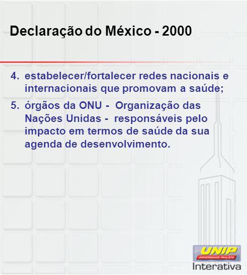 Declaração do México - 2000 estabelecer/fortalecer redes nacionais e internacionais que promovam a saúde;