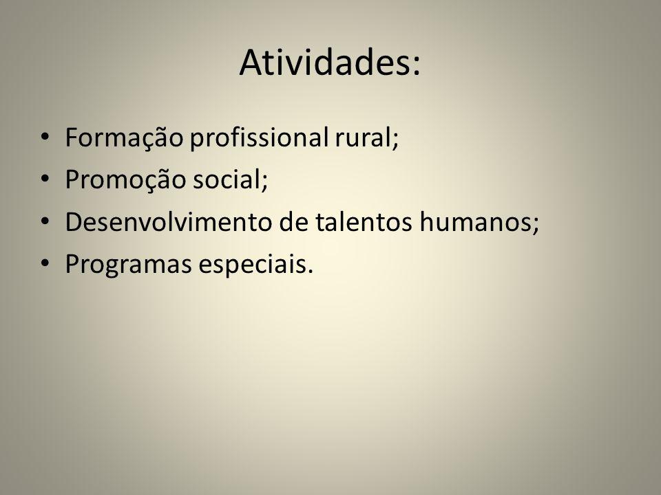 Atividades: Formação profissional rural; Promoção social;
