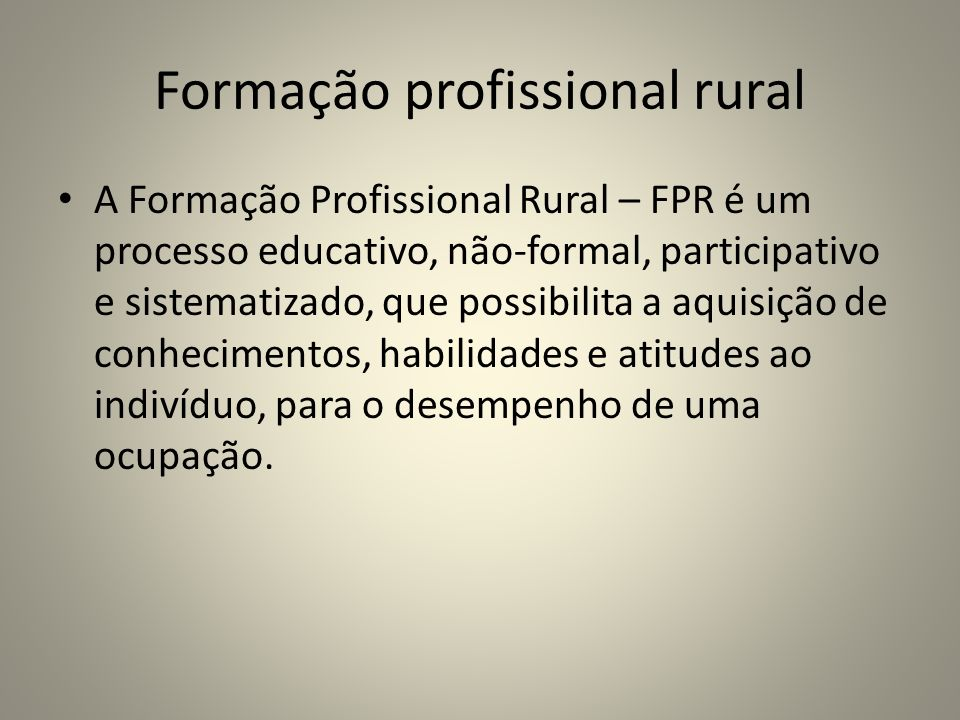 Formação profissional rural